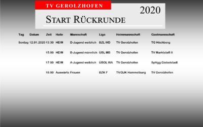 Beginn der Rückrunde – Spiele am Sonntag 12.01.2020